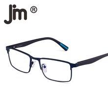 JM Rectangle Optical Frame Glasses Spring Hinge Metal RX-able Eyeglasses Clear Lens