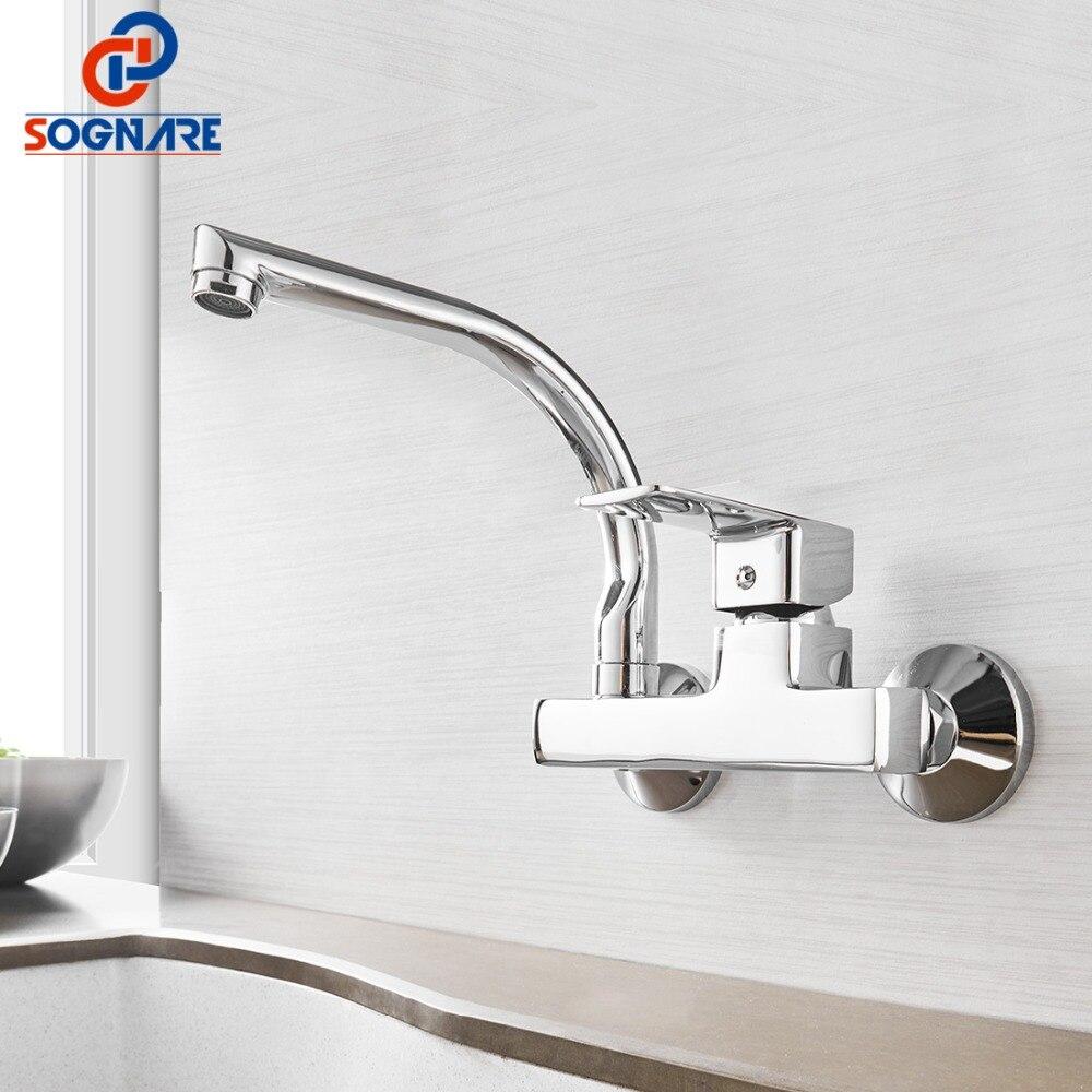 SOGNARE robinet de cuisine mural mitigeur de cuisine robinets double trous robinet d'eau chaude et froide Rotation 360 degrés D2203 - 2