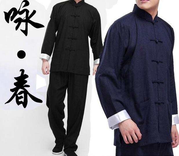 2016 Classic Chinese tang suit black blue Kung Fu suits Bruce Lee clothes Wing Chun taiji tai chi clothing set costume for men