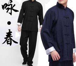2016 Clássico Chinês tang terno preto azul Kung Fu se adapte Bruce roupas Wing Chun Lee taiji tai chi conjunto de roupas traje para homens
