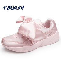 TOURSH Women S Bow Sneakers Popular Satin Bowknot Running Shoes Sports Shoes Bowknot Sneakers Women Krasovki