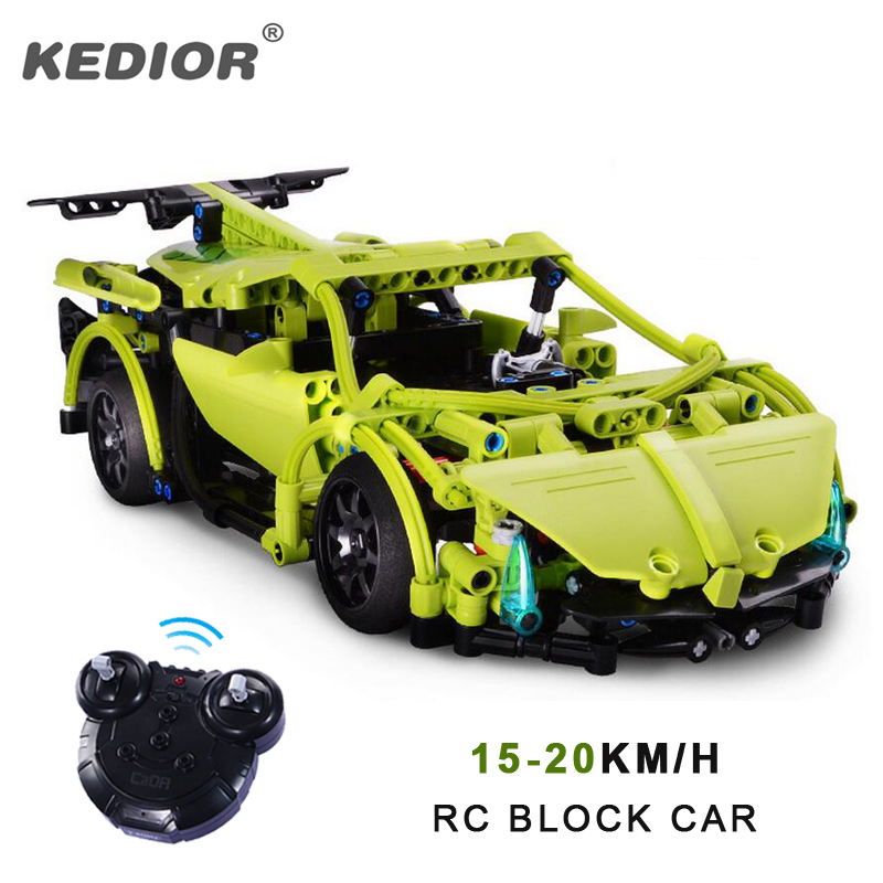 2.4G RC Car Remote Control Blocks Building Kit DIY Puzzle Assembley Radio Controlled Cars with Battery 10 minutes playing radio-controlled car