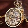 Open Face FOB Mechanical Hand Winding Pocket Watch Luxury Retro Stylish Golden Pendant Transparent Skeleton Steampunk