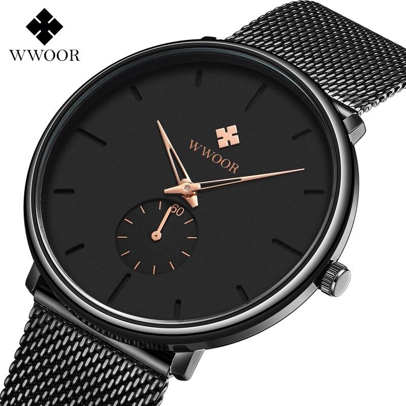 WWOOR Men Watch Waterproof Sports Wristwatches Mens Slim Mesh Strap Business Casual Quartz Watches For Male Clock Reloj Hombre