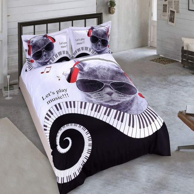 Charming Drop Shipping Boys Bedding Sets 3D Digital Printing Magic Skull Bedding Set  Game Over Duvet Cover 100% Microfiber Music Cat