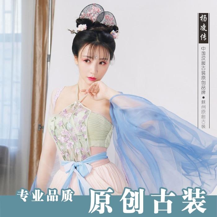 Женский костюм на бретельках Hanfu, сексуальный костюм, древняя китайская принцесса, драконы, сказочные костюмы, качественная шифоновая хлопк... - 3
