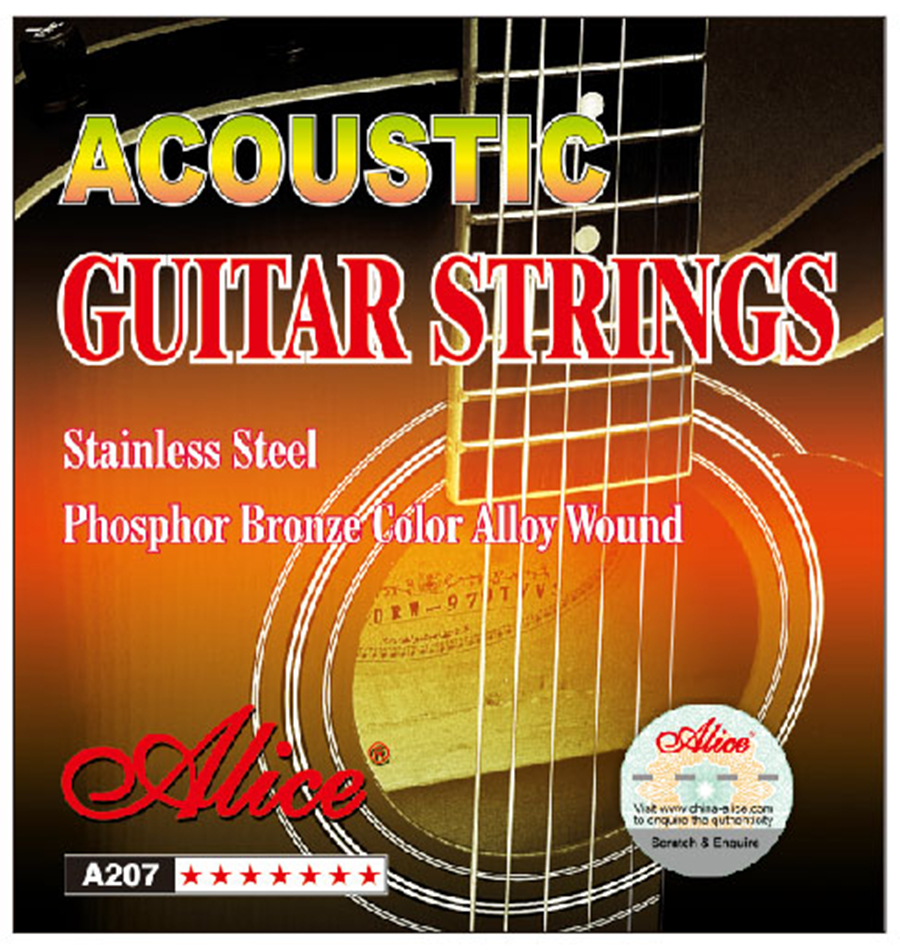 Acoustic Guitar Strings 011/012 inch Stainless Steel Coated Copper Alloy Alice A207