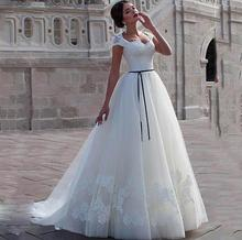 Elegant A Line Wedding Dress Cap Sleeves Bride Dress Appliqued Lace Tulle Lace Up Back With Sash Boho Wedding Gown princess wedding dress lace appliqued crystal wedding gown with beads lace up back floor length illusion boho bride dress