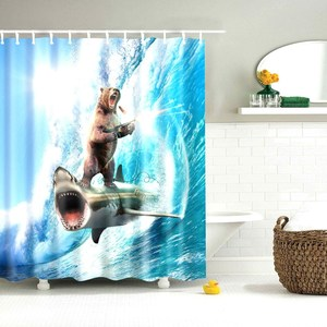 Image 4 - Dafield Cat Shower Curtain Cool Animals Funny Kitten Cat Taking a Gun With Riding a Horse Bathroom Shower Curtains with 12 Hooks
