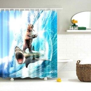 Image 4 - Душевой занавес daполевой для кошек, прикольные животные, Забавный котенок, кошка, пистолет с лошадью, ванная комната, душевой занавес с 12 крючками