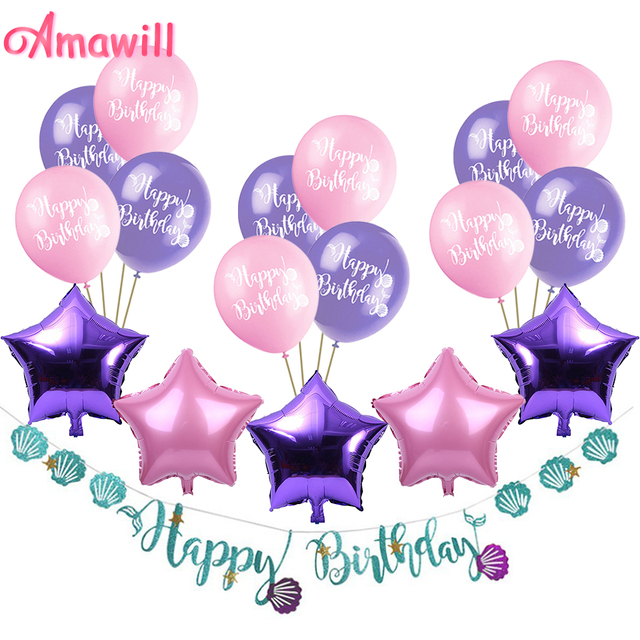 Amawill Mermaid Happy Birthday Banner Purple Star Foil Balloon Pink