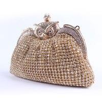 2016 חם אופנה עבודת יד סגסוגת ינשוף קריסטל ארנק תיק ערב תיק מצמד מסיבת חתונה בציר תיק