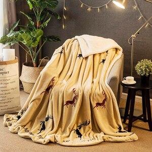 Image 5 - Manta de lana de invierno, manta de Cachemira Hurón, mantas cálidas de lana a cuadros, muy cálidas, suave, para sofá y cama