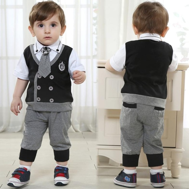 Kids Brand Baby Boy Clothes Boys Formal Wedding Costume Children Short Black Clothing Sets Gentleman Birthday Dress Tie Suit