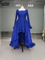 로얄 블루 2016 새로운 도착 실제 샘플 긴 소매 높은 낮은 광장 레이스 사용자 정의 만든 정장 이브닝 드레스 파티