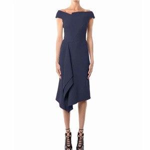 Image 2 - Kate Middleton même Station T, robe mi longue Sexy pour femmes bleu foncé, asymétrique, asymétrique, tenue de fête, nouvelle collection été 2020