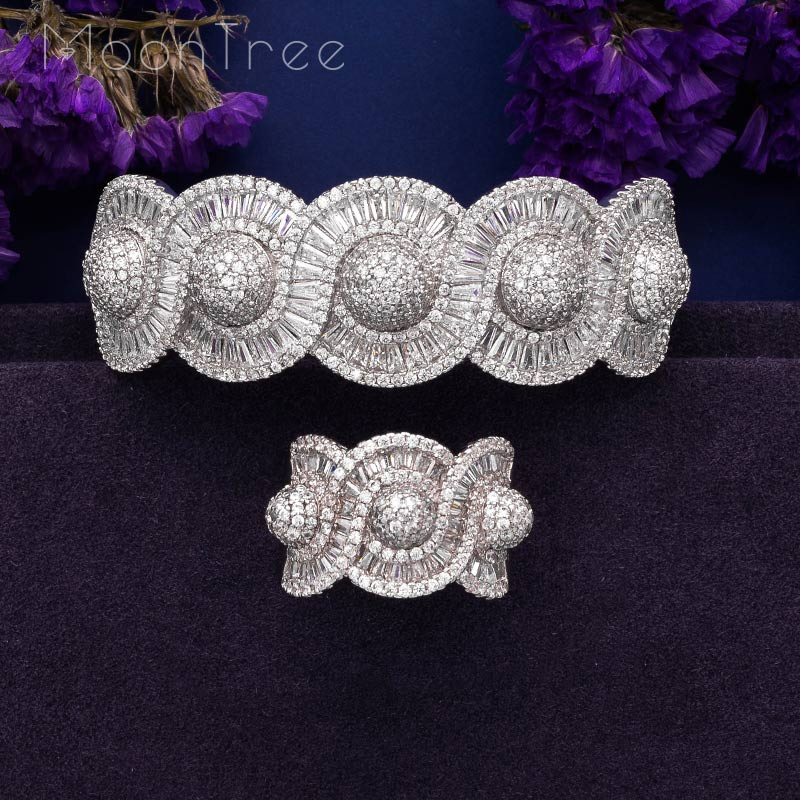 MoonTree Luxury Rhinestones Twist Shape Luxury Cubic Zircon  Wide Bangle Ring Set Silver Color  Plated Large Rings