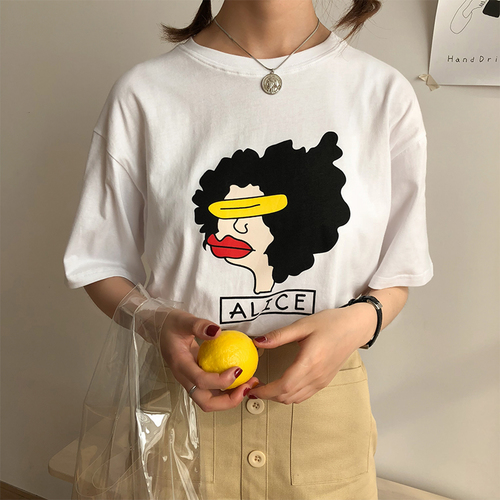 Cartoon printed cute special sweet all match loose simple street short sleeve female t-shirts