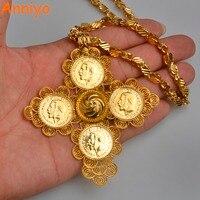 Anniyo Ethiopian Big Cross Pendant 53cm 83cm Thick Necklace For Women Men Gold Color Jewelry AfricanTraditional