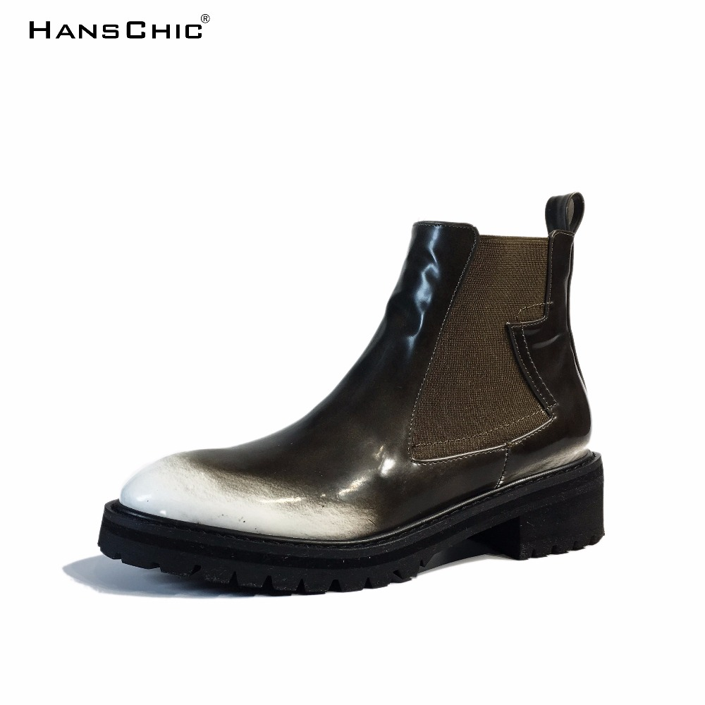 HANSCHIC 2017 New Arrival PU Special Unique Army Green Colors Design Ladies Womens Med Heels Casual Boots Shoes for Female 9999