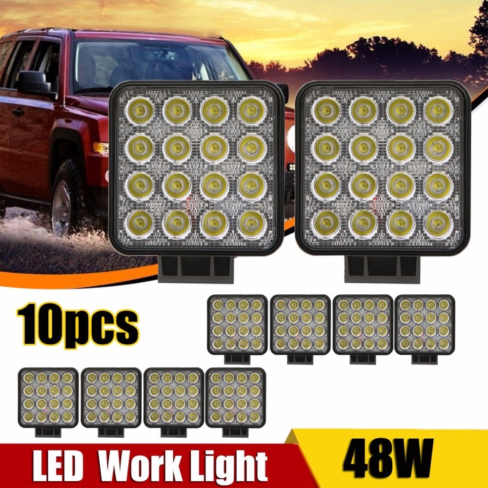 10pcs/4Pcs 10-30V DC 48W Led Super Bright Car Auto Shockproof Waterproof Work Light Driving Light Offroad Headlight for Car waterproof 72w 4300lm 6000k 24 led white light car work project diy light bar dc 10 30v