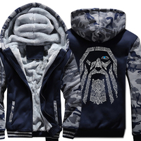 Fashion Wool Liner Camouflage Sleeve Coats Winter Sweatshirt Odin Vikings Hoodies For Men 2018 New Raglan