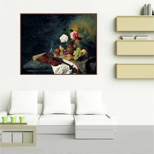 Vintage Home Decoration Violin Fruits and Flowers Still Life Retro Oil Canvas Painting Hand Paint Art Print Poster Wall Gift