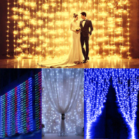 3x3M Curtain Light 300LED Curtain Fairy String Light Christmas Light Wedding Party Garland Outdoor Decor Include 10 Light Strip