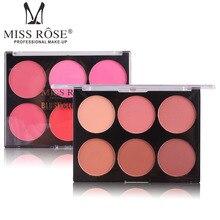 Miss Rose Good Pigmentation 6 Color Blusher Makeup Palette Glow Kit Blush Makeup for Women Cosmetic