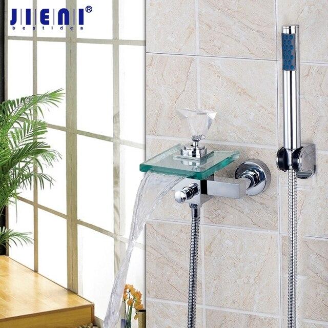 Parete di cristallo diamante maniglia cascata di vetro beccuccio bagno vasca handheld doccia - Rubinetto a parete bagno ...