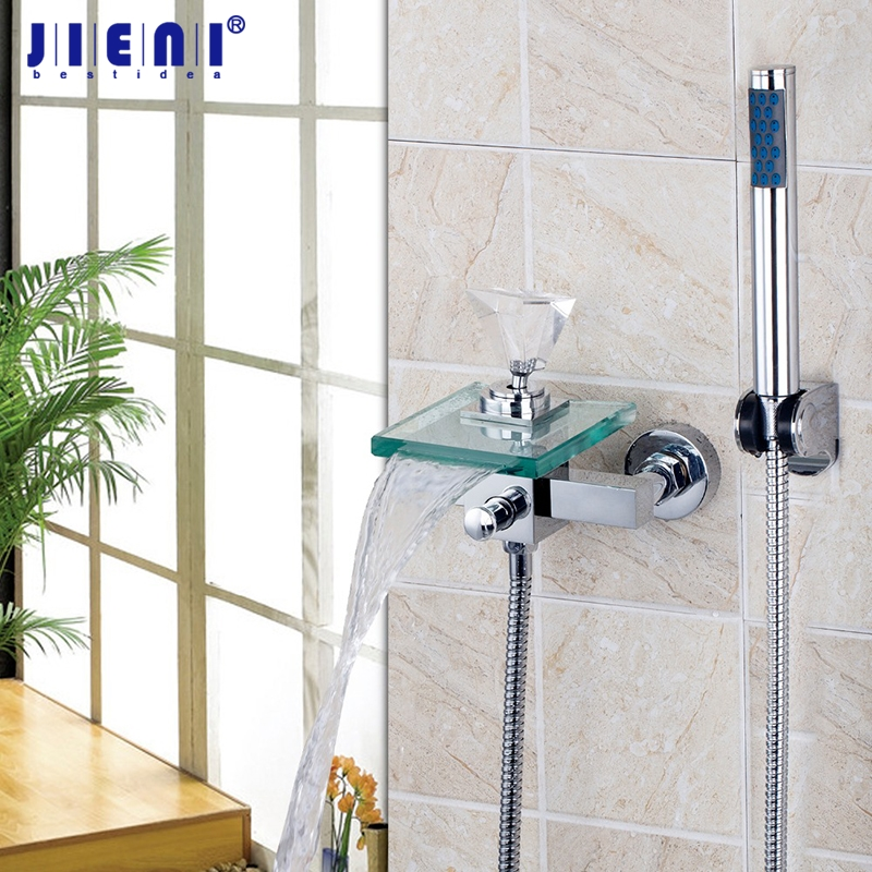 Wall Mounted Crystal Diamond Handle Waterfall Glass Spout Bathroom Bath Handheld Shower Tap Bathtub Mixer Faucet Hand Shower new chrome finish wall mounted bathroom shower faucet dual handle bathtub mixer tap with ceramic handheld shower head wtf931