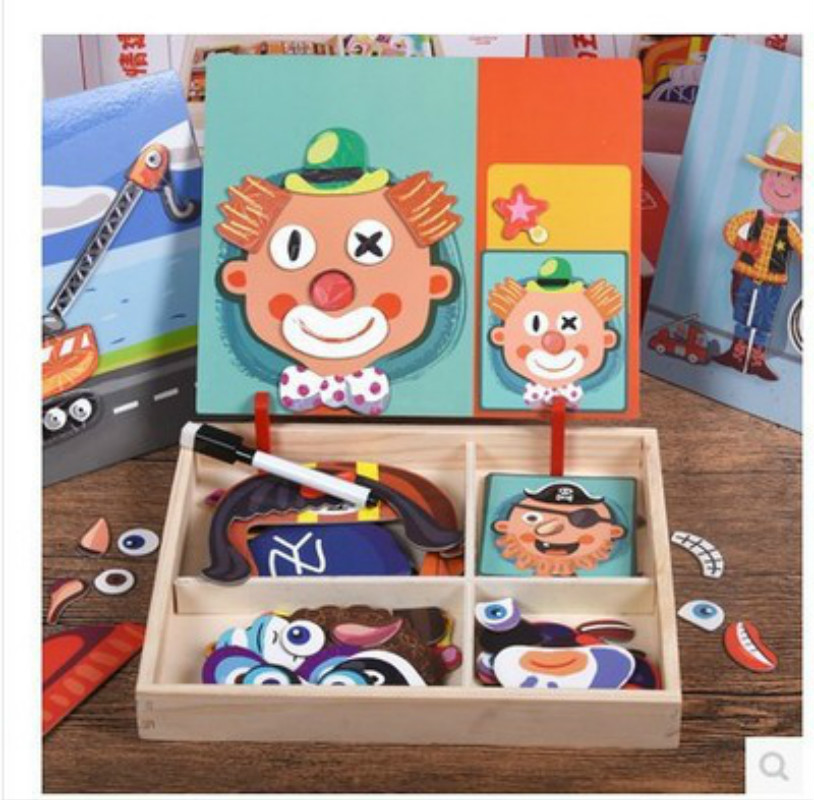 NEW Change Clothing Toys Wooden Drawing Board Magnetic Jigsaw Puzzle Two-in-one Toys A Variety Of Change Dressing