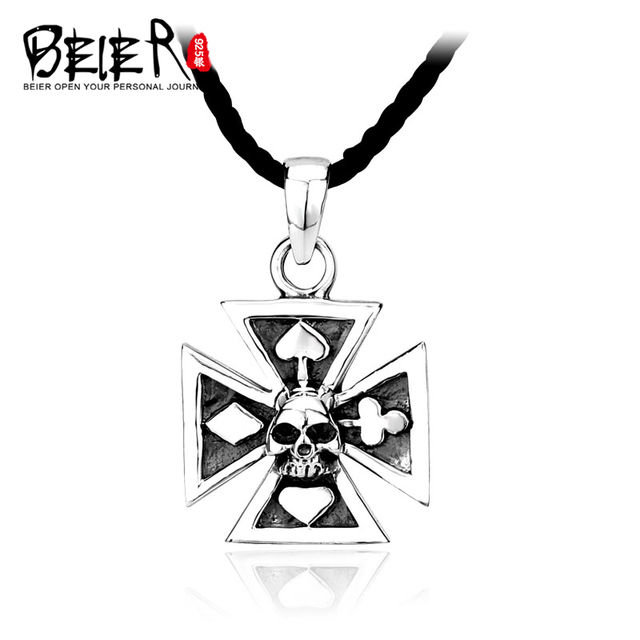 BEIER 925 Sterling Silver Cross Skull Necklace Pendant For Man Solid Silver Iron Cross Pendant Necklace Jewelry A0348