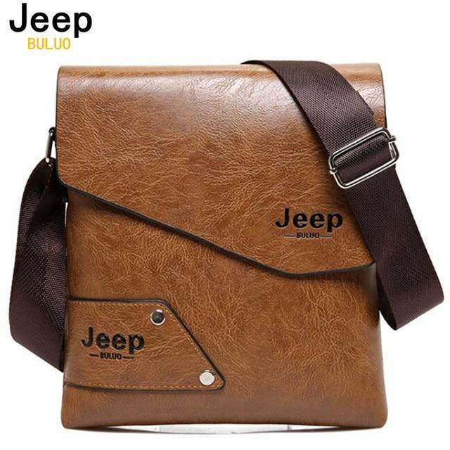 96c3a42c247 JEEP Leather Bag Men Messenger Bags Men s Crossbody Business Tote Man  Classic Hot Sale Men s Shoulder Bags Brown Famous Brand