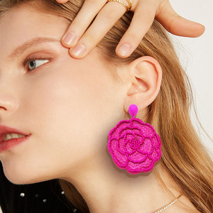 Bohemian Women's Summer Handmade Women's Fashion Exaggerated Rice Bead Rose Earrings and Earrings in 2019