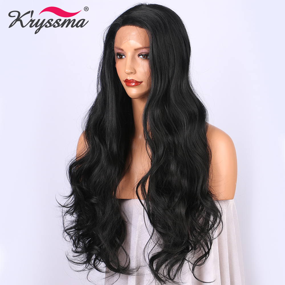 Natural Black Synthetic Lace Wig Long Wavy Lace Front Wigs for Women Black Wig #1B Deep Parting Party Ship from American L Part