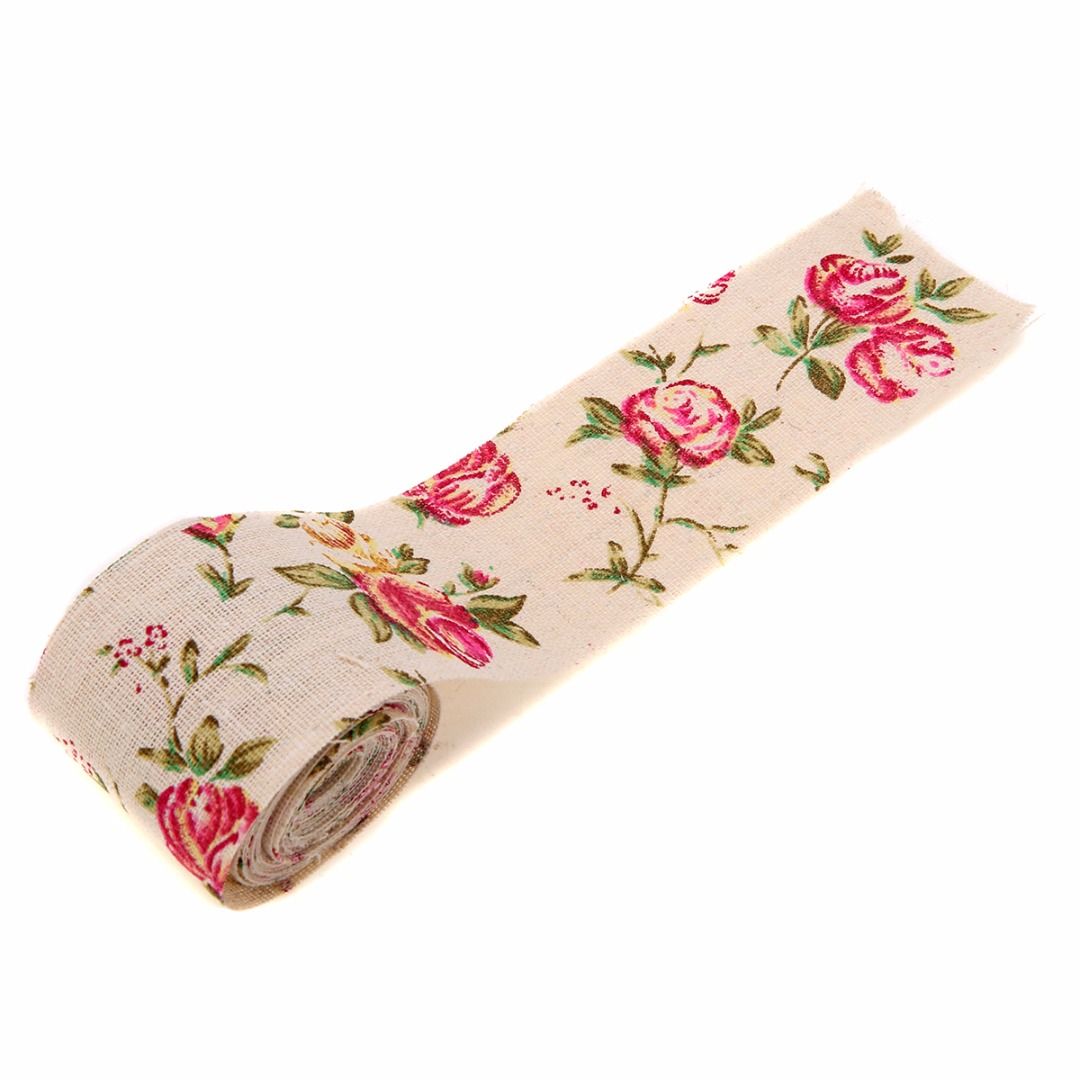 300CM Vintage Rose Floral Print Burlap Stylish Hessian Ribbon Fabric DIY Wedding Craft Decors Handmade Materials 8