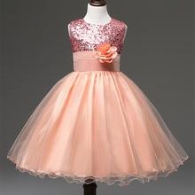 цены на Flower Girl Dress with Rose Party Birthday Chirstening Dress For Baby Girl Princess Children Toddler Girl Vest Dresses Kids  в интернет-магазинах