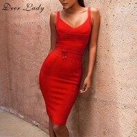 Deer Lady Women Sexy Red Bandage Dress 2017 Summer Bodycon Clur Dress Vestidos Spaghetti Strap Bandage