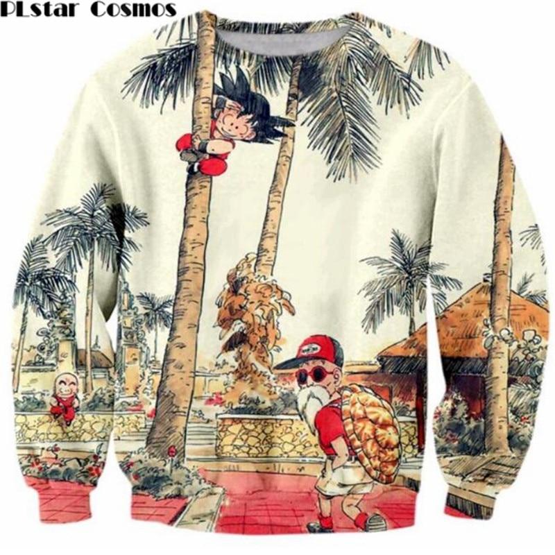 PLstar Cosm Goku / Master Roshi Print Sweatshirts Dragon Ball Z 3D Sweatshirt Mænd Vintage stil Tree Scenery Crewneck Pullovers