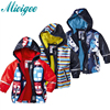 Mioigee 2017 Children Outerwear Raincoat Poncho Boys PU Leather Waterproof Windproof Breathable Jackets Coat Plus Velvet