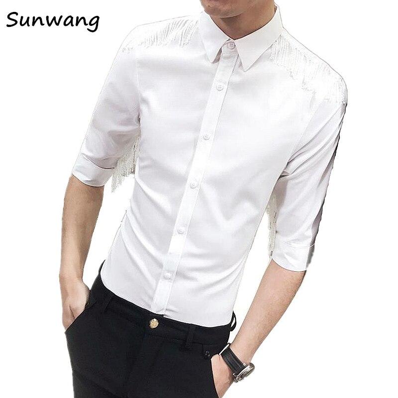 Sunwang Male Tassel design Shirts Men Shirt Brand Clothing Men wedding Shirt show Casual Slim Fit Camisa Masculina Chemise Homme