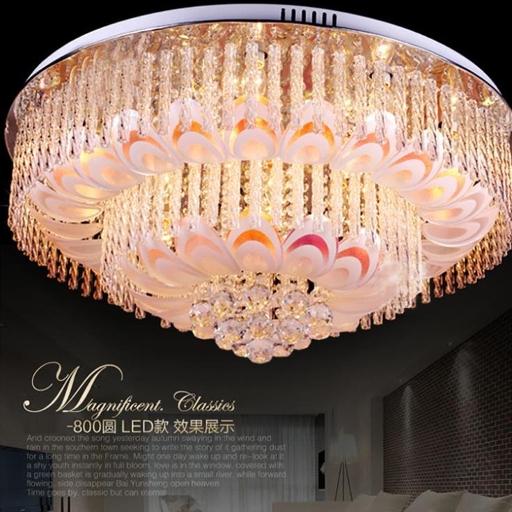Modern Novelty Led Crystal Ceiling Lights Surface Mounted Remote Control  Chandelier Ceiling Lamp For Living Room