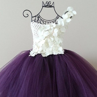 8 Color Flower Girl Tutu Dresses Purple White PinK Flower Girls Wedding Dress Birthday Photo props Pageants Size 2T 10Y PT08