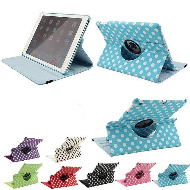 Wholesale Case For iPad 5 iPad Air Case Stand Polka Dot 360 degree Rotation Smart Magnetic PU Leather Case For iPad5 iPad Air levett caesar prostate massager for 360 degree rotation g spot