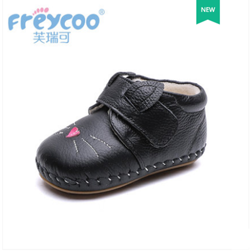 Freycoo 2018 Kids Shoes Winter Baby Toddler Lovely Boys Girls Anti-Slippery Shoes Genuine Leather Warm Cotton Shoes