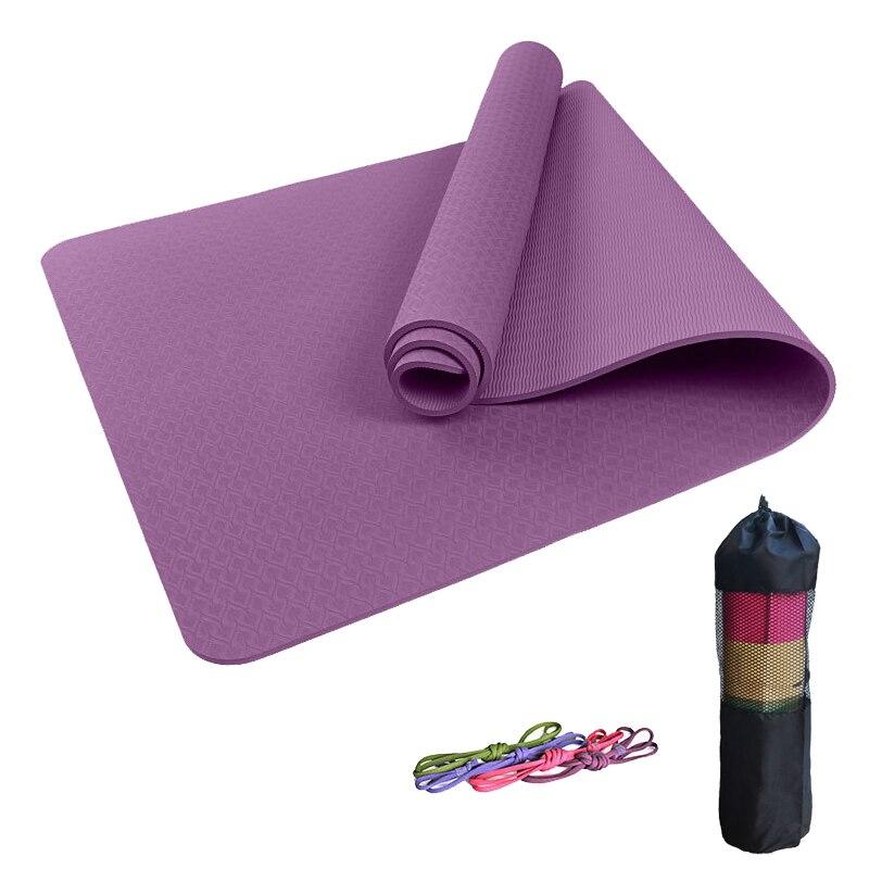 Yoga débutant 6mm/8mm tapis de Yoga éco-insipide couleur unie TPE Fitness Pilates tapis d'entraînement avec sac de Yoga sangle
