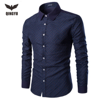 QINGYU Brand 2017 Dress Shirts Mens Polka Dot Shirt Slim Fit Male Shirts Long Sleeve Men