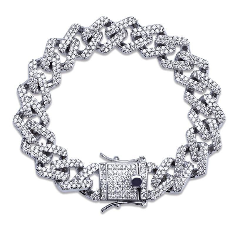 Chaînes glacées Bracelet pour hommes 2 couleurs Miami Micro Pave Zircon Bracelets nouveauté Hip Hop Rock bijoux