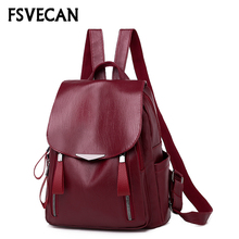 2019 Fashion Women Backpacks Leather Waterproof Bag Female school backpack women Shoulder bags for teenage girls Travel Back стоимость